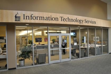 Front door to Information Technology Services in the Old Capitol Mall.