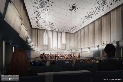 Interior shot of Voxman Music Building at the University of Iowa.