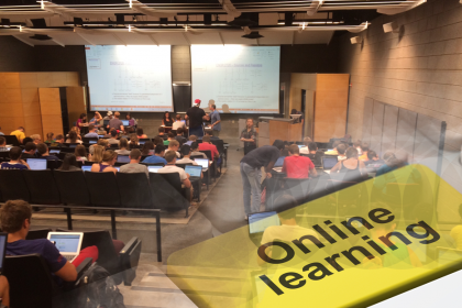 Glamour shot style lecture hall and online learning overlay.