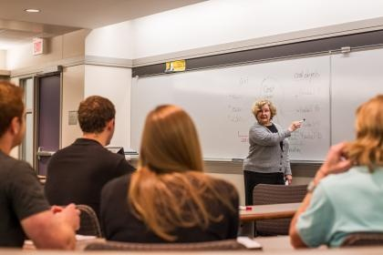 Photo of a professor lecturing in front of a whiteboard.