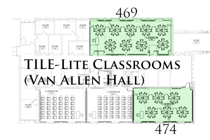 TILE Lite classrooms in Van Allen Hall.
