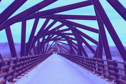 Pedestrian view of the Iowa High Trestle Bridge.