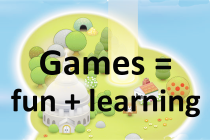 "Cartoon of a map with text saying ""games = fun + learning"""