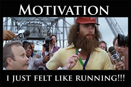 Inspirational poster style meme of Forrest Gump running.