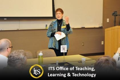 Photo of instructor Maggie Jesse lecturing in a conference room.