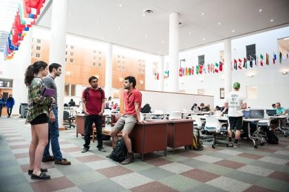 Students gather in the common area at the Engineering building.