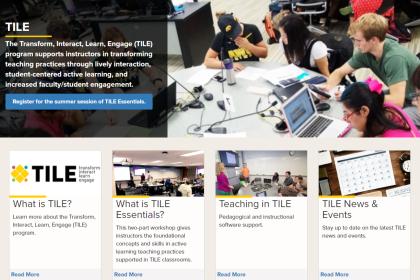 homepage of tile website