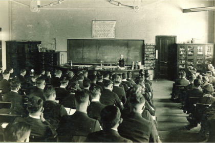 Vintage photo of an old lecture hall.