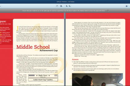 Screen shot of eTextbook software.