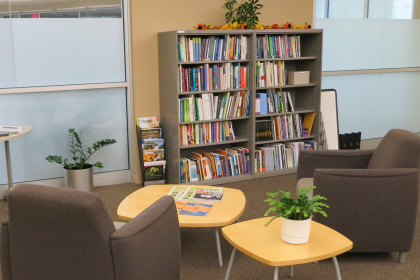 Photo of the lending library in the new Center for Teaching office.